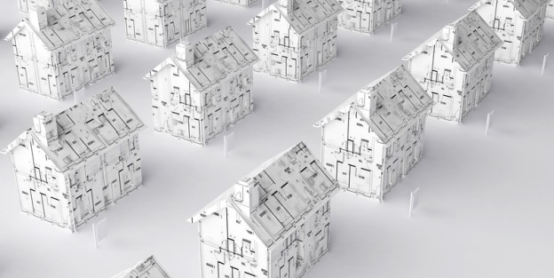 Black and white graphic with array of miniature houses with floorplans on each house
