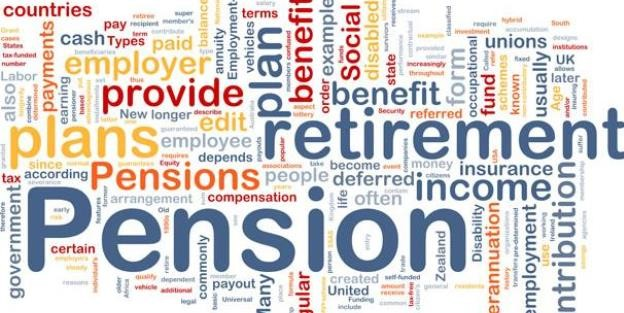 Word cloud related to pension plans and retirement and income