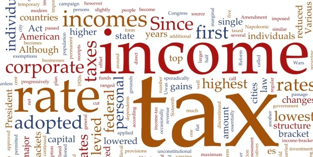 word cloud with words related to tax and income