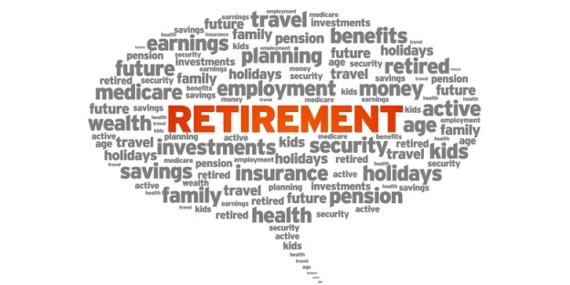 word cloud related to retirement and planning for retirement
