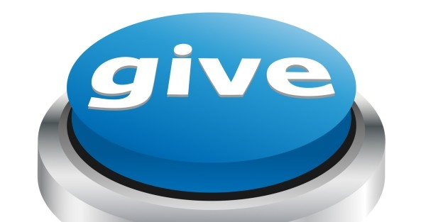 Big blue button saying give
