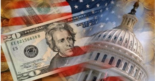 US parliment faded with US flag and dollar bill