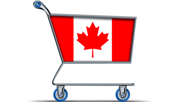 Shopping Basket with Canadian Flag