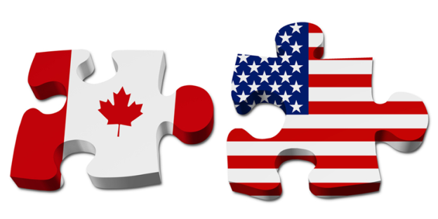 Canada and US Puzzle Pieces