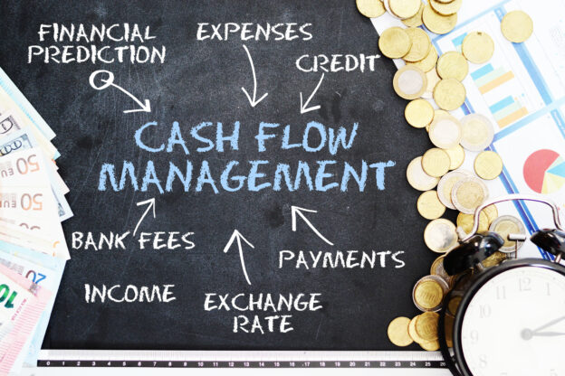 Cash flow management written on chalkboard with related concepts written around, and with coins, money and clock scattered