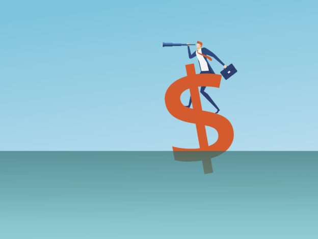 Businessman looking through telescope standing on floating dollar sign looking for success