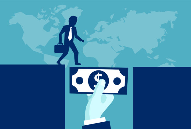 Blue and white graphic with Businessman using a dollar bill as a bridge to cross over a gap