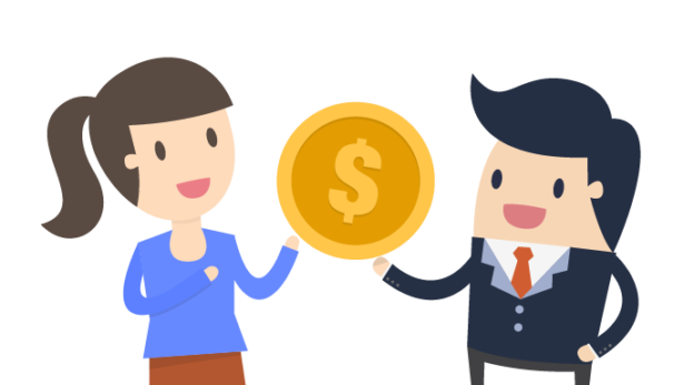 Clipart of happy woman and man holding large gold dollar coin