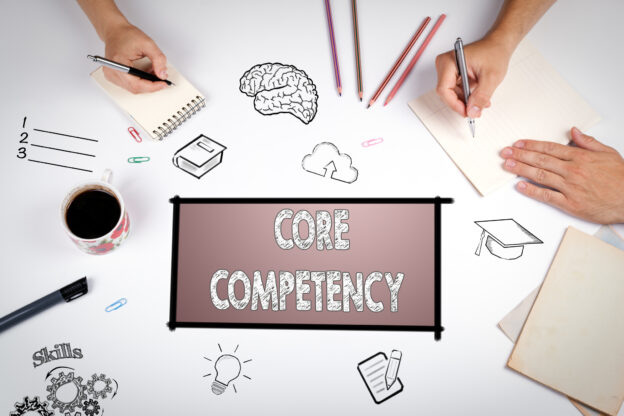 Core competency graphic sign with Marketing Tips for Business Owners