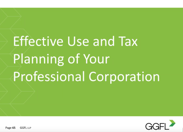 Effective use and tax planning of professional corporation
