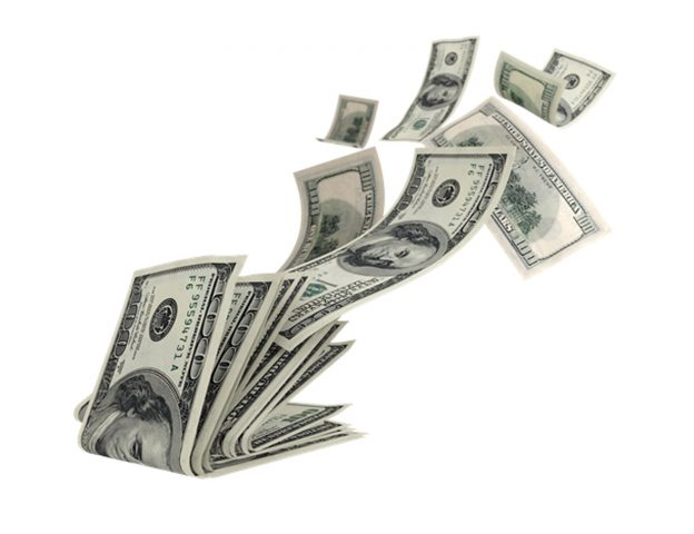 Money flying on a white background
