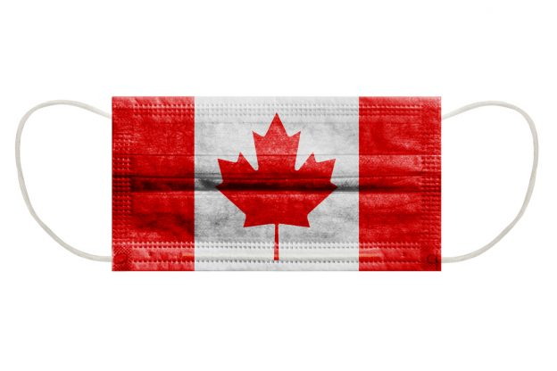 Facemask with Canadian flag printed on it